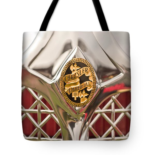 1931 Chrysler Cg Imperial Lebaron Roadster Grille Emblem Tote Bag by Jill Reger