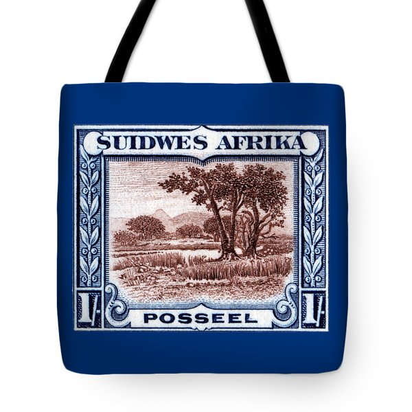 Tote Bag featuring the painting 1931 South West African Landscape Stamp by Historic Image