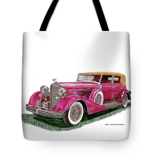 Tote Bag featuring the painting 1932 Cadillac All Weather Phaeton V 16 by Jack Pumphrey