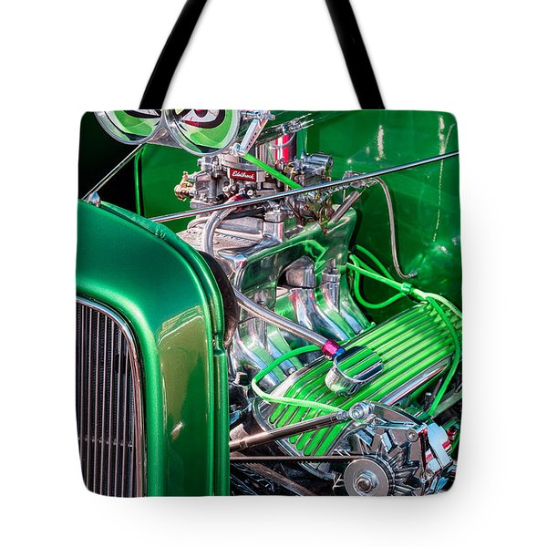 Tote Bag featuring the photograph 1932 Green Ford Hot Rod Engine by Aloha Art