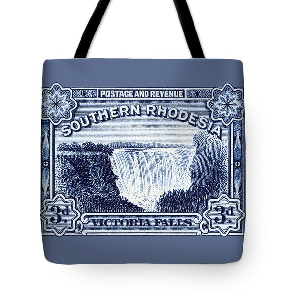 Tote Bag featuring the painting 1932 Southern Rhodesia Victoria Falls Stamp by Historic Image