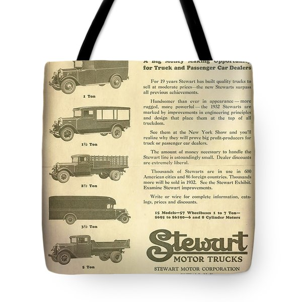 1932 Stewarts Ad Tote Bag