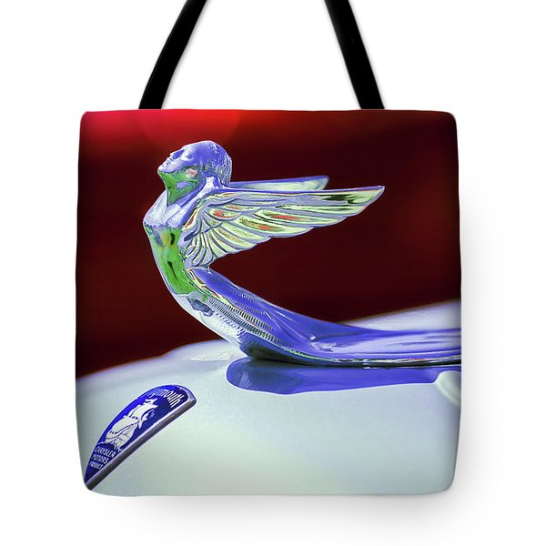 Tote Bag featuring the photograph 1933 Plymouth Hood Ornament -0121rc by Jill Reger