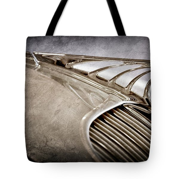 Tote Bag featuring the photograph 1934 Desoto Airflow Coupe Hood Ornament -2404ac by Jill Reger