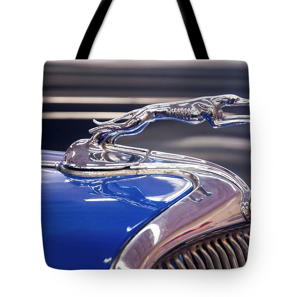 Tote Bag featuring the digital art 1934  Ford Greyhound Hood Ornament by Chris Flees