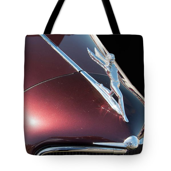 Tote Bag featuring the photograph 1934 Oldsmobile Goddess Hood Ornament by Chris Flees