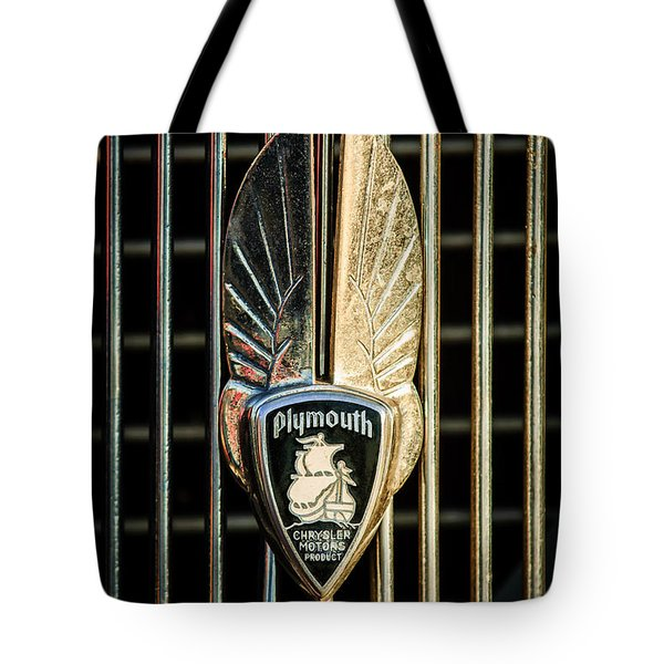 1934 Plymouth Emblem Tote Bag by Jill Reger