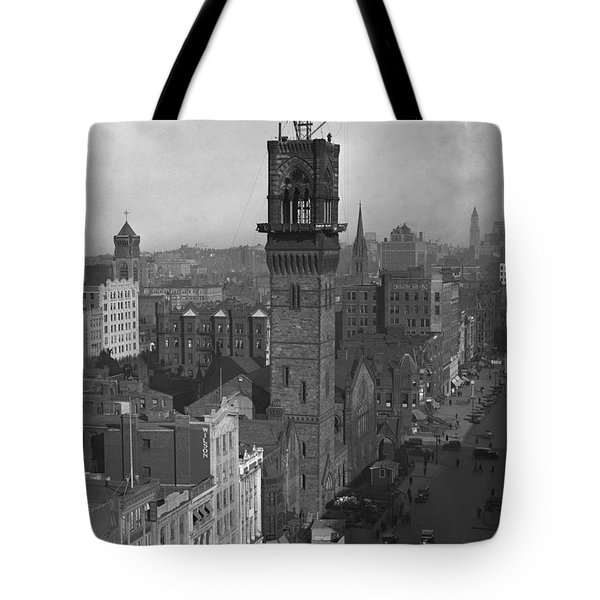 Tote Bag featuring the photograph 1935 Back Bay Construction, Boston by Historic Image