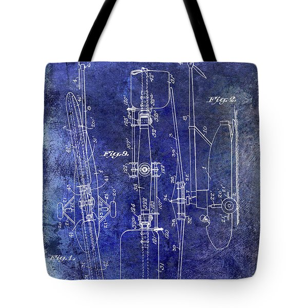 1935 Helicopter Patent Blue Tote Bag by Jon Neidert