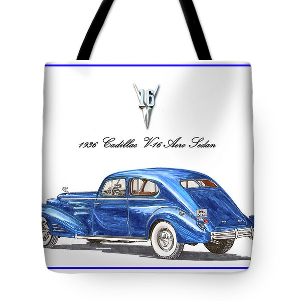 Tote Bag featuring the painting 1936 Cadillac V-16 Aero Coupe by Jack Pumphrey