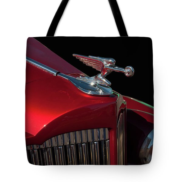 Tote Bag featuring the photograph 1936 Packard Flying Lady Hood Ornamant by Chris Flees