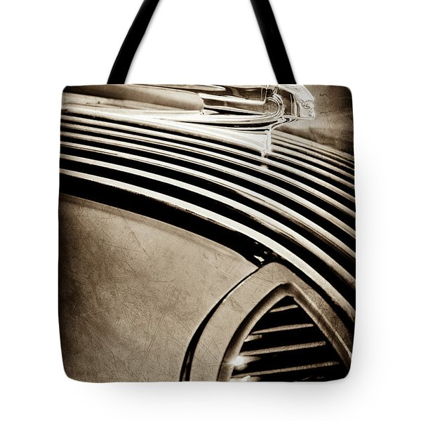 Tote Bag featuring the photograph 1936 Pontiac Hood Ornament -1140s by Jill Reger