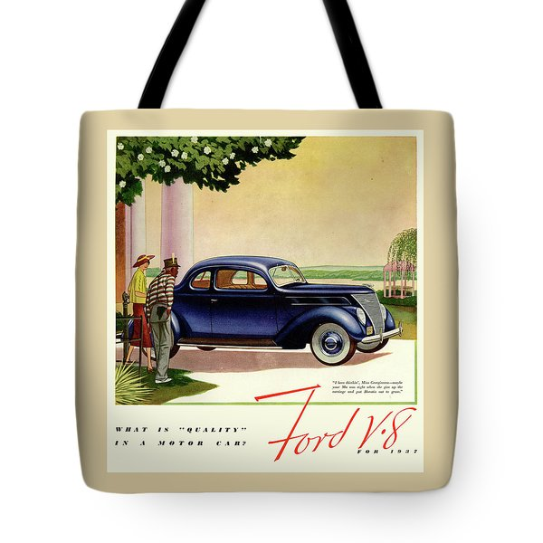 1937 Ford Car Ad Tote Bag