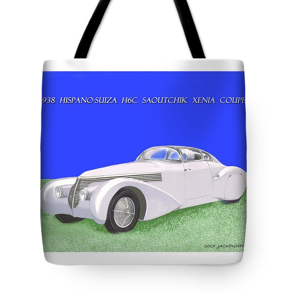 1938 Hispano Suiza H6c Saoutchik Xenia Coupe Tote Bag by Jack Pumphrey