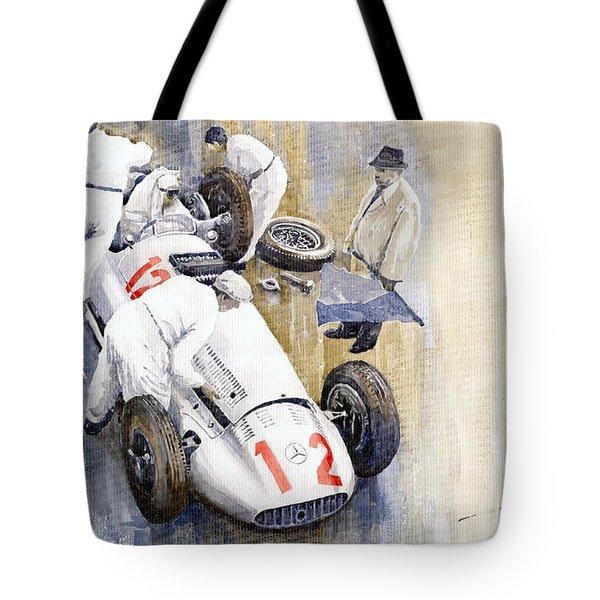 1939 German Gp Mb W154 Rudolf Caracciola Winner Tote Bag by Yuriy  Shevchuk