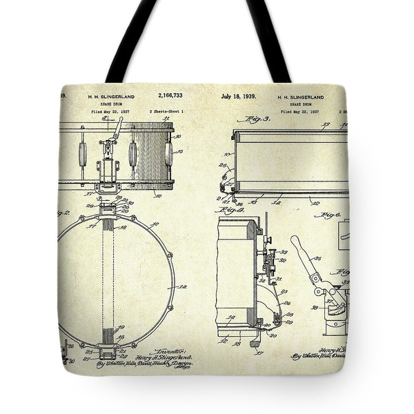 1939 Slingerland Snare Drum Patent Sheets Tote Bag