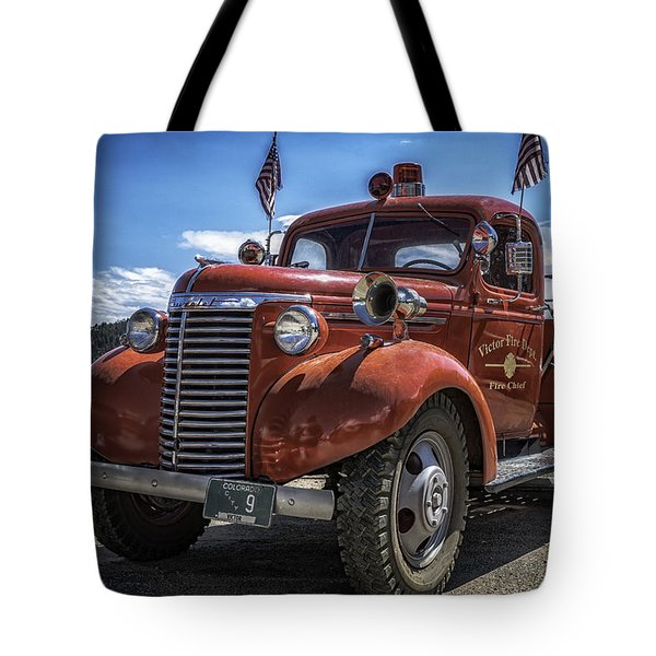 Tote Bag featuring the photograph 1940 Chevrolet Fire Truck  by Bitter Buffalo Photography