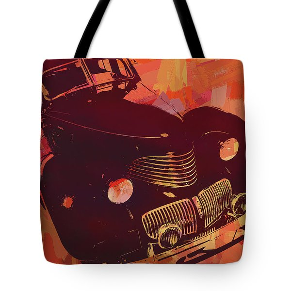 Tote Bag featuring the digital art 1940 Hupp Skylark Red Pop by David King