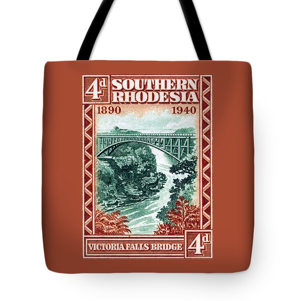 Tote Bag featuring the painting 1940 Southern Rhodesia Victoria Falls Bridge  by Historic Image