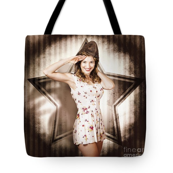 Tote Bag featuring the photograph 1940s Aviation Pinup Girl Wearing Military Fashion by Jorgo Photography - Wall Art Gallery