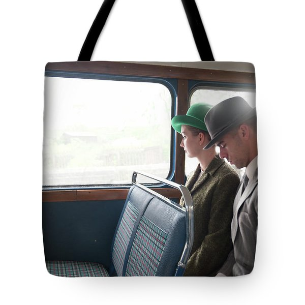 1940s Couple Sitting On A Vintage Bus Tote Bag