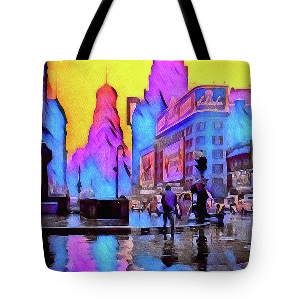 1940s Times Square Rain Tote Bag by Susan Maxwell Schmidt