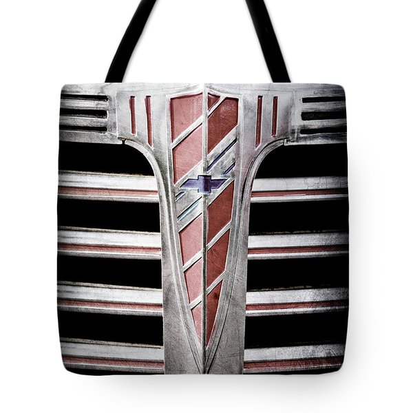 Tote Bag featuring the photograph 1941 Chevrolet Grille Emblem -0288ac by Jill Reger