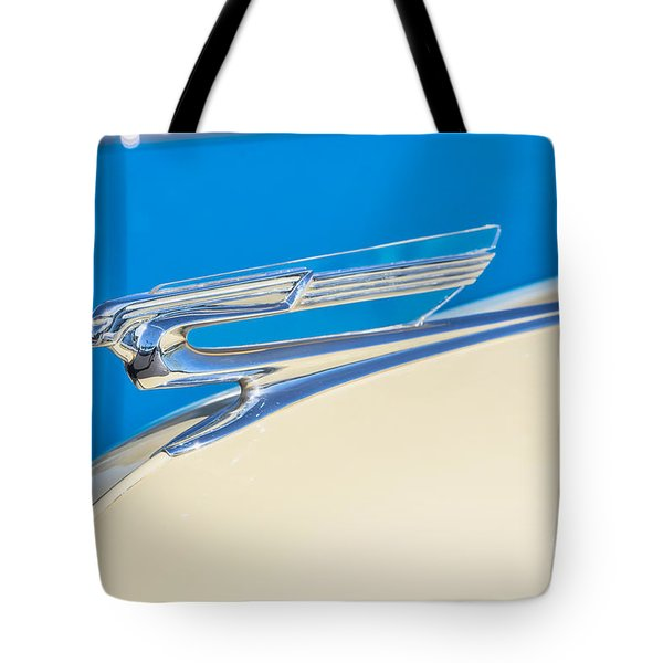 Tote Bag featuring the photograph 1941 Chevy Hood Ornament by Aloha Art