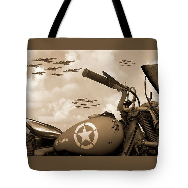 Tote Bag featuring the photograph 1942 Indian 841 - B-17 Flying Fortress - H by Mike McGlothlen