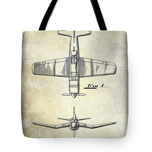 1946 Airplane Patent Tote Bag by Jon Neidert