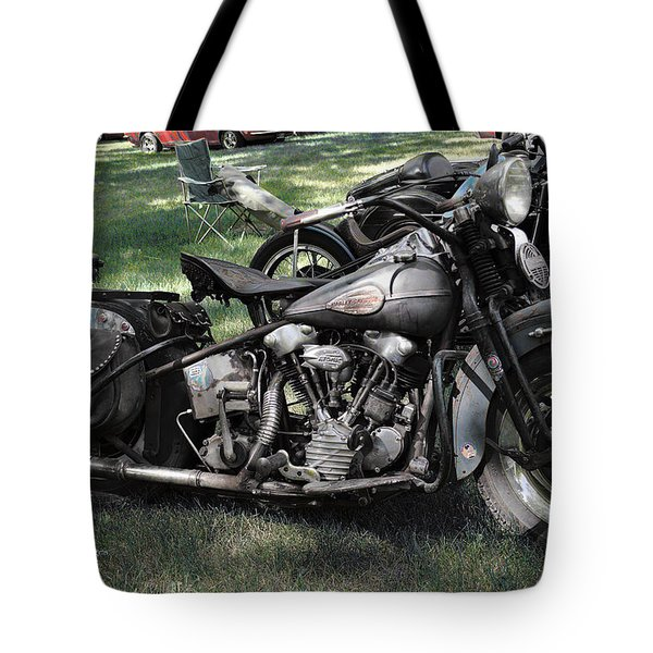 Tote Bag featuring the photograph 1946 Harley Davidson by Kae Cheatham