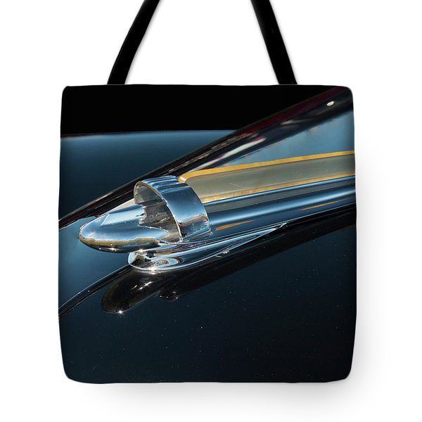 Tote Bag featuring the photograph 1947 Chevy Bomb Hood Ornament by Chris Flees