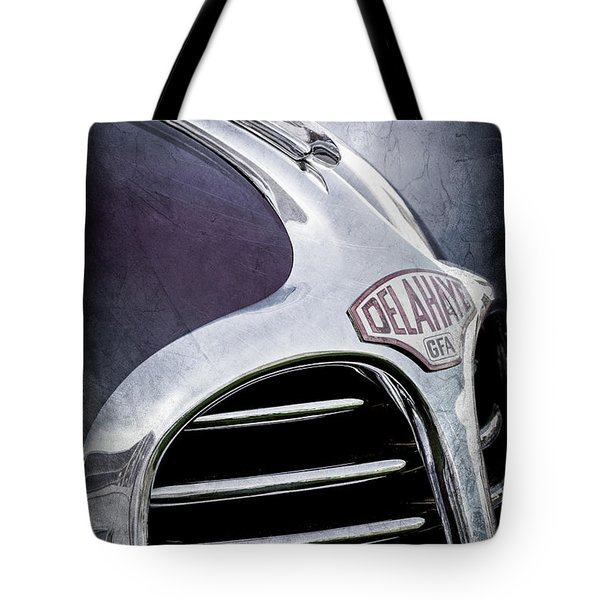 Tote Bag featuring the photograph 1947 Delahaye Emblem -1477ac by Jill Reger