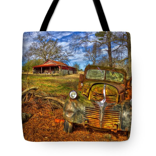 1947 Dodge Dump Truck Country Scene Art Tote Bag