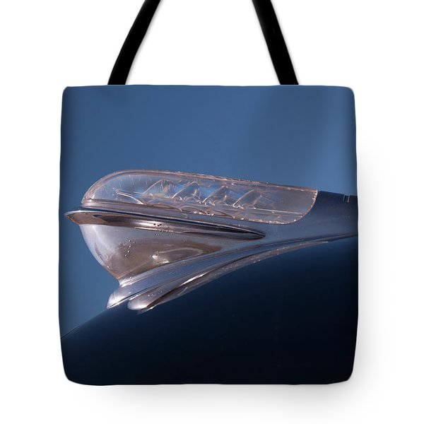Tote Bag featuring the photograph 1947 Plymouth Hood Ornament by Chris Flees