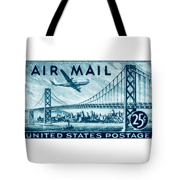 1947 San Francisco Air Mail Stamp Tote Bag by Historic Image
