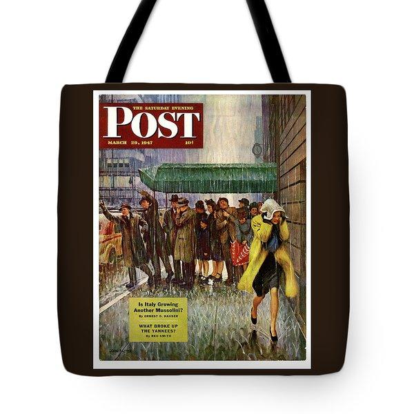 1947 Saturday Evening Post Magazine Cover Tote Bag