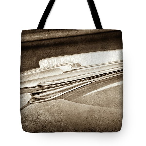 Tote Bag featuring the photograph 1948 Chevrolet Hood Ornament -0587s by Jill Reger