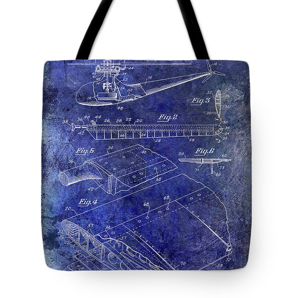 1949 Helicopter Patent Blue Tote Bag by Jon Neidert