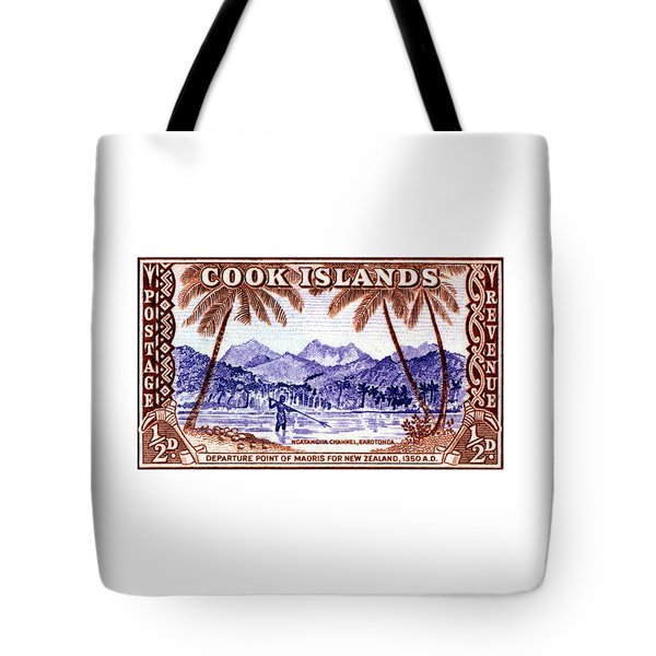 Tote Bag featuring the painting 1949 Native Fishing, Cook Islands by Historic Image