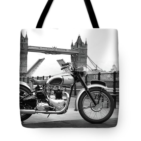 1949 Triumph T100 Tote Bag by Mark Rogan