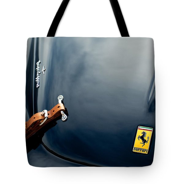 Tote Bag featuring the photograph 1950 Ferrari Hood Emblem by Jill Reger