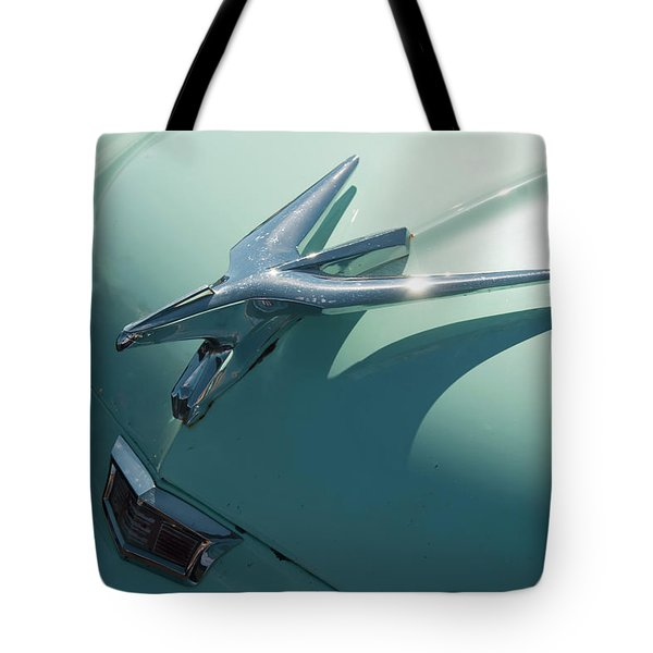 Tote Bag featuring the photograph 1950s Chrysler Falcon Hood Ornament by Chris Flees