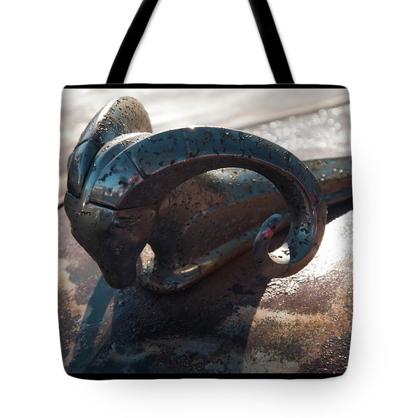 Tote Bag featuring the photograph 1950s Dodge Ram Hood Ornament by Chris Flees