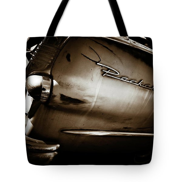 Tote Bag featuring the photograph 1950s Packard Tail by Marilyn Hunt