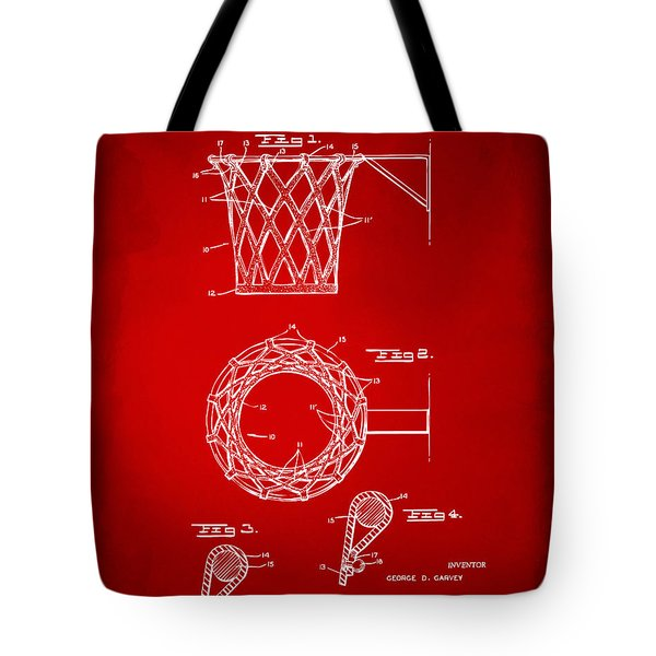 1951 Basketball Net Patent Artwork - Red Tote Bag