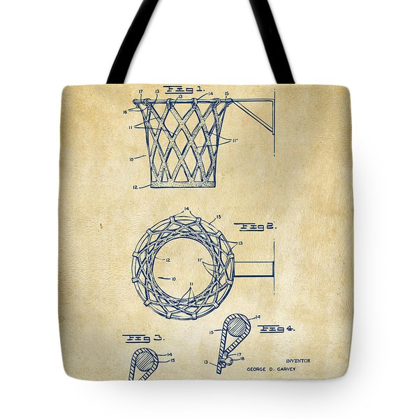 1951 Basketball Net Patent Artwork - Vintage Tote Bag