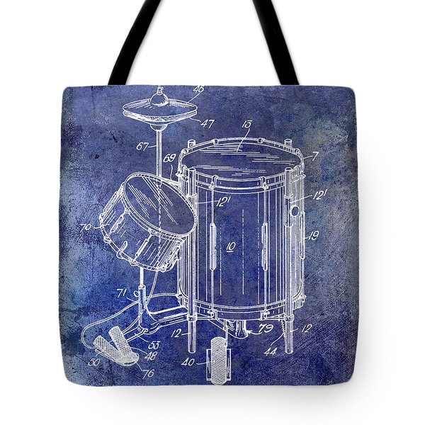 1951 Drum Kit Patent Blue Tote Bag
