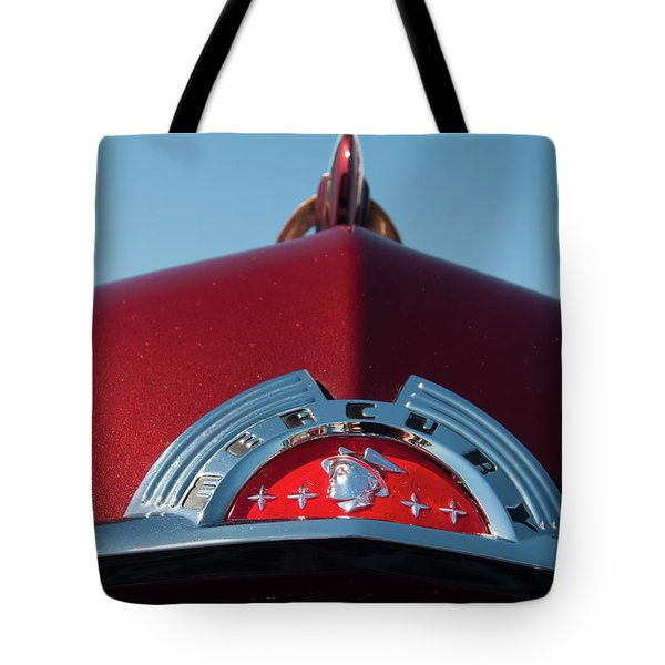 Tote Bag featuring the photograph 1951 Mercury Head Badge by Chris Flees