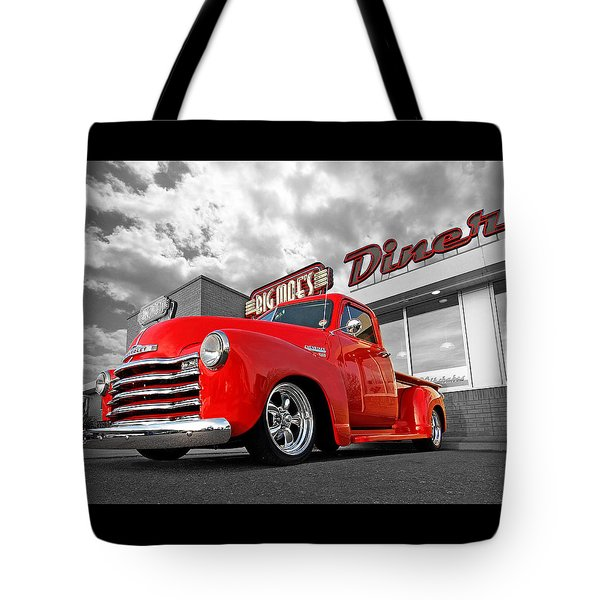 1952 Chevrolet Truck At The Diner Tote Bag